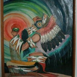 Oil Painting Native American Indian Chief Framed